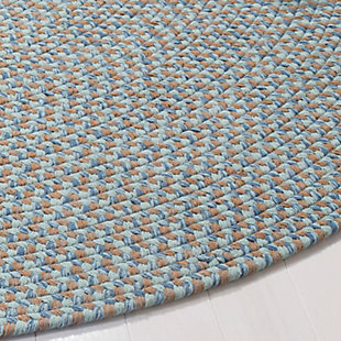 Reversible 6' x 6' Round Rug, Gray, rollover