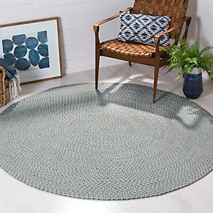 Reversible 6' x 6' Round Rug, Gray, large