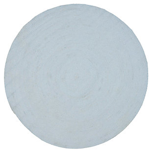 Reversible 6' x 6' Round Rug, Blue, large