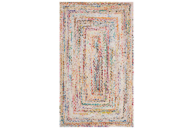 Reversible 5' x 8' Area Rug, Red/White, large