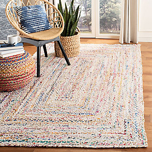 Reversible 6' x 9' Area Rug, Red/White, rollover