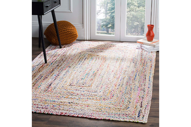 Reversible 8' x 10' Area Rug, Red/White, large