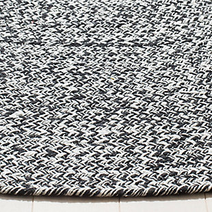 Reversible 4' x 4' Round Rug, Black/White, large