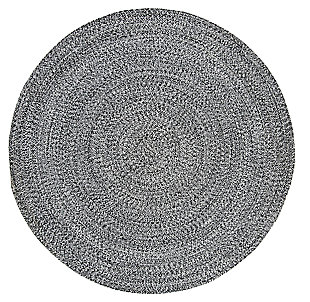 Reversible 4' x 4' Round Rug, Black/White, large