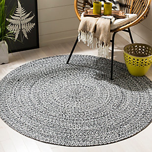 Reversible 4' x 4' Round Rug, Black/White, rollover