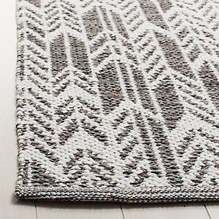 "Hand Crafted 2'3"" x 7' Runner Rug, Gray/White, rollover"