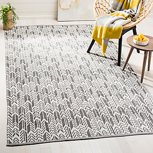 Hand Crafted 8' x 10' Area Rug, Gray/White, rollover