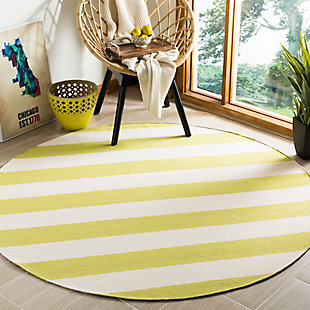Hand Crafted 6' x 6' Round Rug, Green/White, rollover