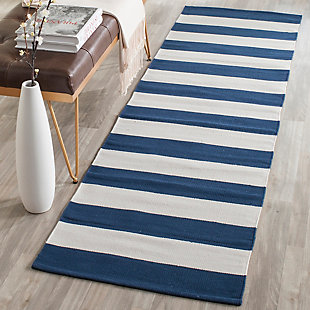 "Hand Crafted 2'3"" x 9' Runner Rug, White/Blue, rollover"