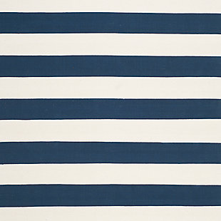 Hand Crafted 6' x 9' Area Rug, White/Blue, large