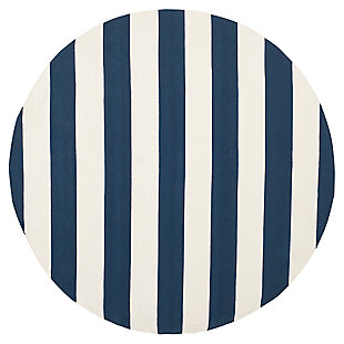 Hand Crafted 6' x 6' Round Rug, White/Blue, large