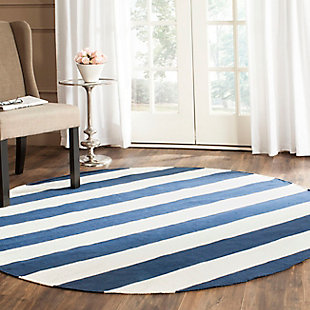 Hand Crafted 6' x 6' Round Rug, White/Blue, rollover
