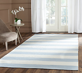 Hand Crafted 5' x 8' Area Rug, White/Blue, rollover