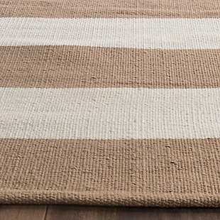 Hand Crafted 6' x 9' Area Rug, Beige/White, rollover