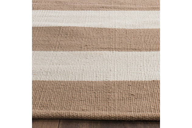 Hand Crafted 6' x 9' Area Rug, Beige/White, large