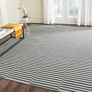 Hand Crafted 6' x 9' Area Rug, Gray/White, rollover