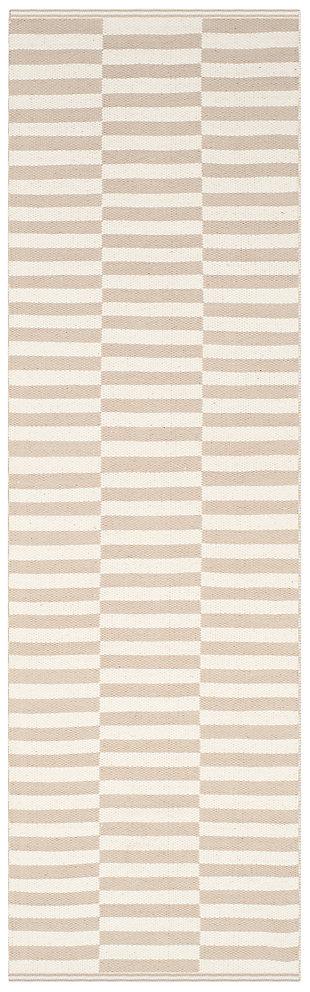 """Hand Crafted 2'3"""" x 7' Runner Rug, Gray/White, large"""