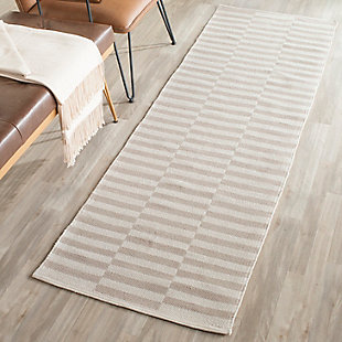 """Hand Crafted 2'3"""" x 7' Runner Rug, Gray/White, rollover"""