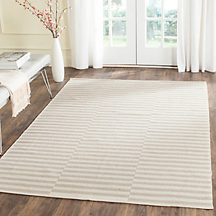 Hand Crafted 8' x 10' Area Rug, Gray/White, large