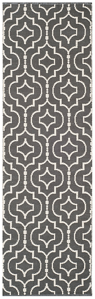 "Modern 2'3"" x 7' Runner Rug, Gray/White, large"