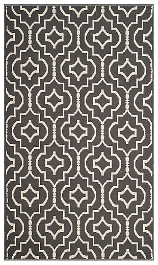 Modern 5' x 8' Area Rug, Gray/White, large
