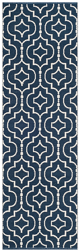 "Modern 2'3"" x 7' Runner Rug, Blue/White, large"