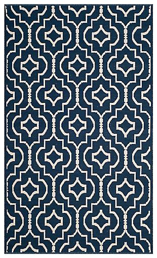 Modern 5' x 8' Area Rug, Blue/White, large
