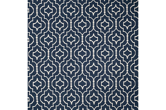 Modern 5' x 8' Area Rug, Blue/White, large