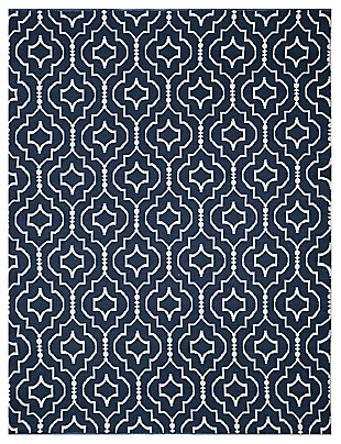 Modern 8' x 10' Area Rug, Blue/White, large