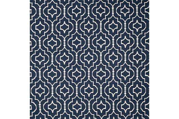 Modern 8' x 10' Area Rug, Blue/White, large