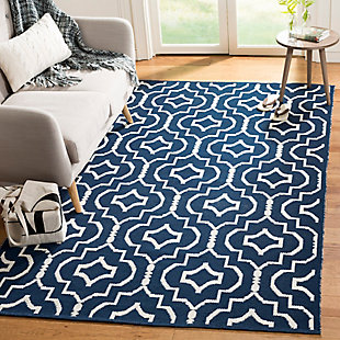 Modern 8' x 10' Area Rug, Blue/White, rollover