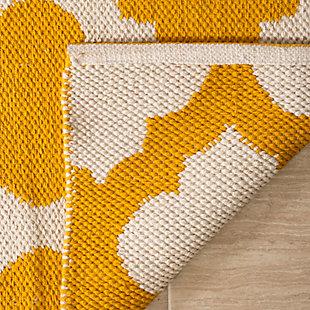 Modern 3' x 5' Doormat, Yellow/White, large