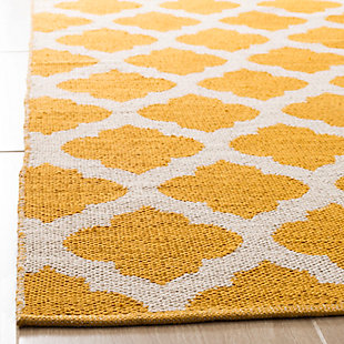 Modern 3' x 5' Doormat, Yellow/White, rollover