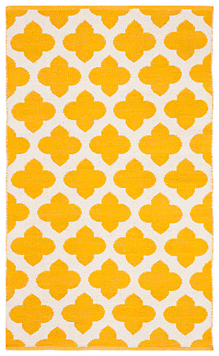 Modern 3' x 5' Doormat, Yellow/White, large