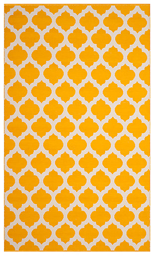 Modern 5' x 8' Area Rug, Yellow/White, large