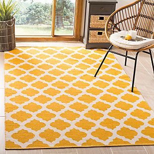 Modern 5' x 8' Area Rug, Yellow/White, rollover