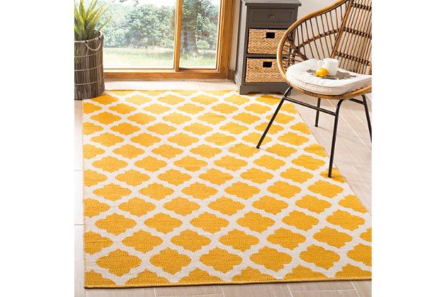 Modern 5' x 8' Area Rug, Yellow/White, large