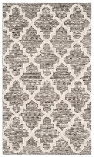 Modern 3' x 5' Doormat, Gray/White, large