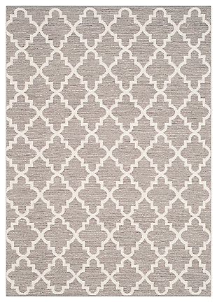 Modern 6' x 9' Area Rug, Gray/White, large