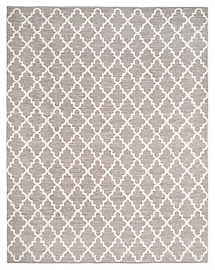 Modern 8' x 10' Area Rug, Gray/White, large