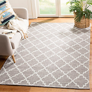 Modern 8' x 10' Area Rug, Gray/White, rollover