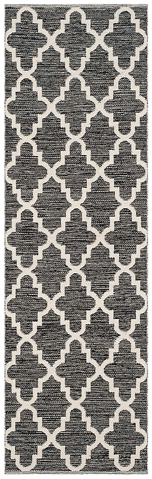 "Modern 2'3"" x 7' Runner Rug, Black/White, large"