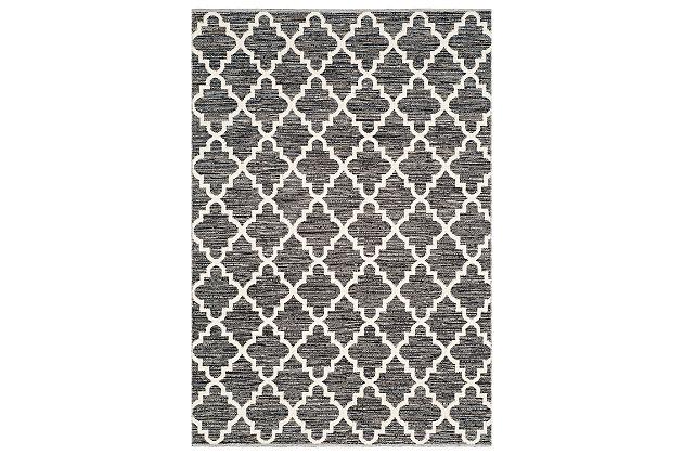 Modern 5' x 7' Area Rug, Black/White, large