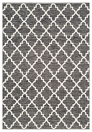 Modern 6' x 9' Area Rug, Black/White, large