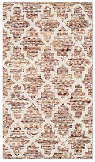 Modern 5' x 7' Area Rug, Beige/White, large