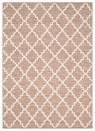 Modern 6' x 9' Area Rug, Beige/White, large