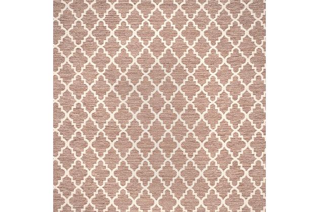 Modern 6' x 9' Area Rug, Beige/White, large