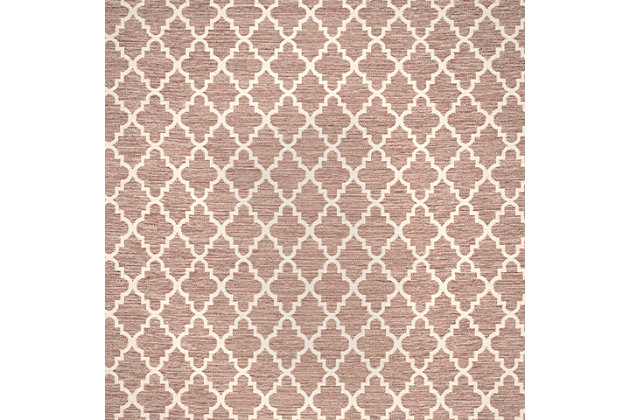 Modern 6' x 6' Square Rug, Beige/White, large
