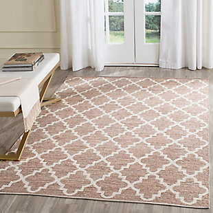 Modern 6' x 6' Square Rug, Beige/White, rollover