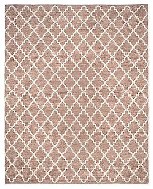 Modern 8' x 10' Area Rug, Beige/White, large